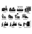 production manufacturing process from factory vector image