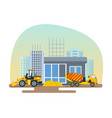reconstruction of post office work on forklift vector image vector image