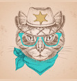retro hipster animal cat hand drawing muzzle vector image vector image