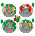 set happy hippos with balloons in birthday hat vector image vector image