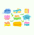 set labels for allergens products free gmo vector image
