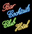 set of glowing neon signs vector image vector image