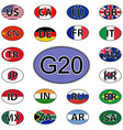 set oval stickers flags of the g20 countries vector image vector image