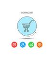 shopping cart icon market buying sign vector image