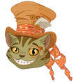 steampunk cheshire cat in top hat vector image vector image