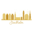 Stockholm City skyline golden silhouette vector image vector image