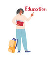 student aframerican with books and backpack vector image