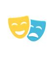 theatre mask icon silhouette theatre drama comedy vector image vector image