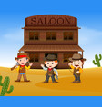 three cowboys holding gun and standing outside vector image vector image