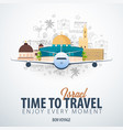 travel to israel time to travel banner with vector image vector image