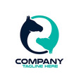 two horses in a circle logo vector image