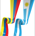 uruguayan colombian ribbon flag on background vector image