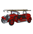 vintage red fire truck vector image vector image
