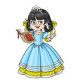 beautiful princess read book isolated on white vector image