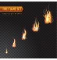realistic burning fire flame set effect vector image