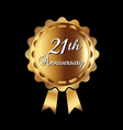 21th Anniversary gold medal vector image vector image