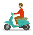 a man ride a motorcycle scooter trough city vector image