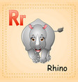 animals alphabet r is for rhino vector image vector image