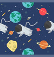 astronaut in space flat design pattern vector image