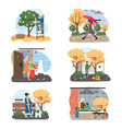 autumn season set flat fall vector image