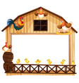 background design with chickens on the barn vector image vector image