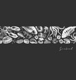 banner with hand drawn seafood on chalkboar vector image