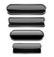 black set of buttons with chrome frame vector image vector image