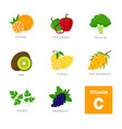 cartoon food with vitamin c elements vector image vector image