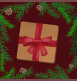christmas holidays composition with gift vector image vector image