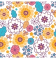 Colorful oriental flowers seamless pattern vector image vector image
