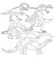 coloring book with a set of dinosaurs vector image