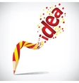 creative pencil with red idea isolate on white vector image vector image
