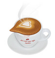 cup hot cappuccino with steam and saucer vector image vector image