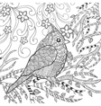 Cute bird in fantasy flower garden vector image vector image