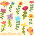 Cute hand drawn flowers set vector image vector image