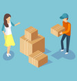 delivery men transporting cardboard boxes vector image