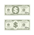 design of one hundred dollar bill in green colors vector image vector image