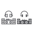 dj line and glyph icon party and music dj mixer vector image