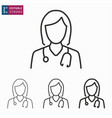 doctor line icon on white background editable vector image vector image