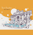 drawing sketch trevi fountain in rome vector image