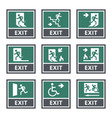 exit door sign set emergency fire exit label vector image