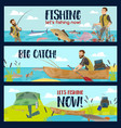 fisherman with rods tackles and fish catch vector image vector image