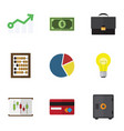 flat icon incoming set of portfolio payment vector image vector image