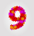 floral numbers colorful flowers number 9 vector image vector image