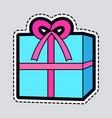 gift box blue new year present with pink ribbon vector image vector image