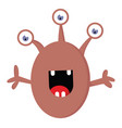 happy 3 eyed monster with open mouth on white vector image vector image