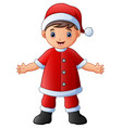 happy boy in santa claus costume vector image vector image