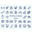 healthy lifestyle outline icons - big set sport vector image vector image