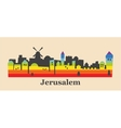 Jerusalem skyline colored with gay flag colors vector image