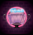 music iluminated neon label vector image vector image